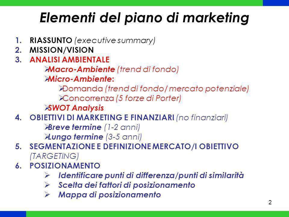 3 Elementi del piano di marketing 7.LEVA PRODOTTO Definizione portafoglio prodotti (con indicazione ruoli) 8.LEVA PREZZO Strategia di prezzo (prestige/scrematura/penetrazione del mercato; sconti) 9.LEVA DISTRIBUZIONE Definizione politica distributiva (estensiva, selettiva, esclusiva) Scelta canali 10.LEVA COMUNICAZIONE Forme di comunicazione (promotion mix) Media strategy (mezzi/veicoli) 11.