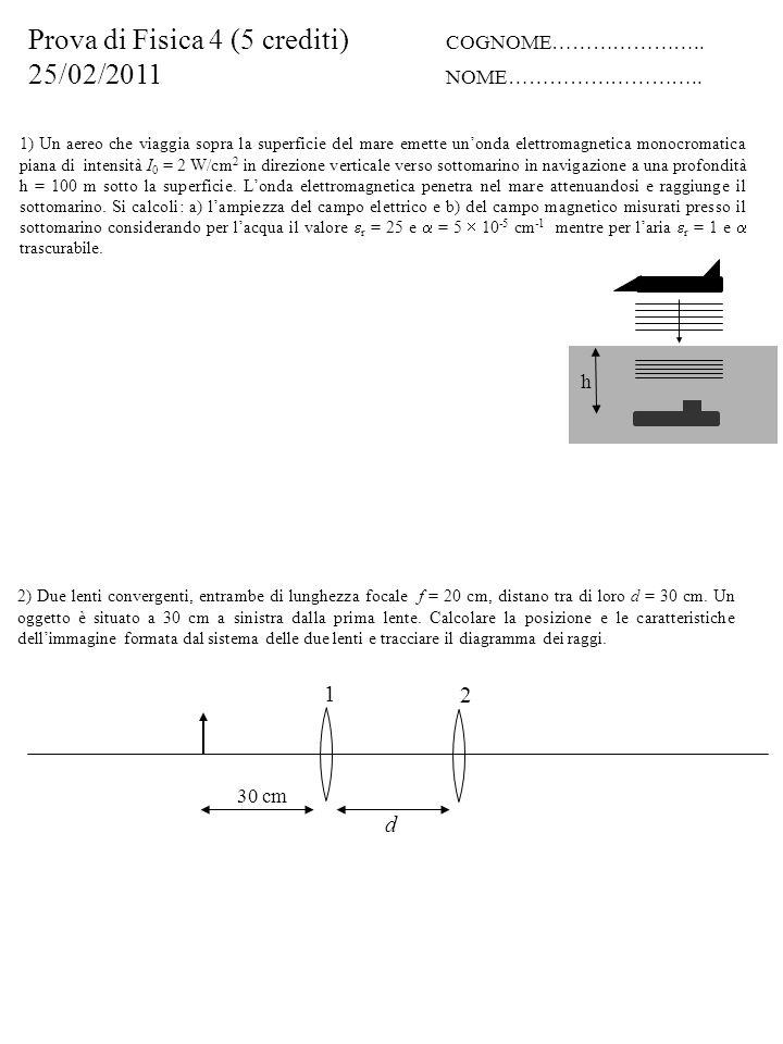 4) Due sorgenti di onde elettromagnetiche, col campo elettrico perpendicolare al piano della figura, di frequenza = 300 MHz distano d = 3 m.