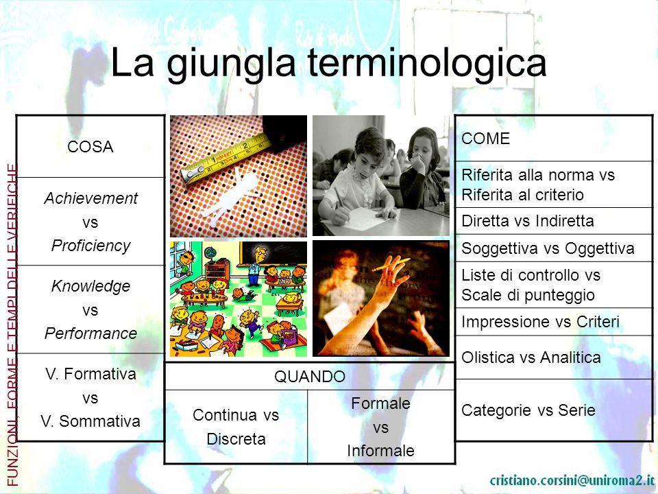 La giungla terminologica COSA Achievement vs Proficiency Knowledge vs Performance V. Formativa vs V. Sommativa FUNZIONI, FORME E TEMPI DELLE VERIFICHE