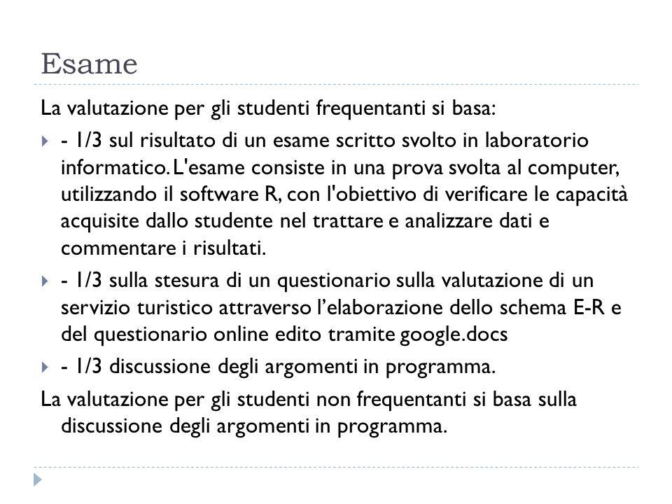 Esame La valutazione per gli studenti frequentanti si basa: - 1/3 sul risultato di un esame scritto svolto in laboratorio informatico.