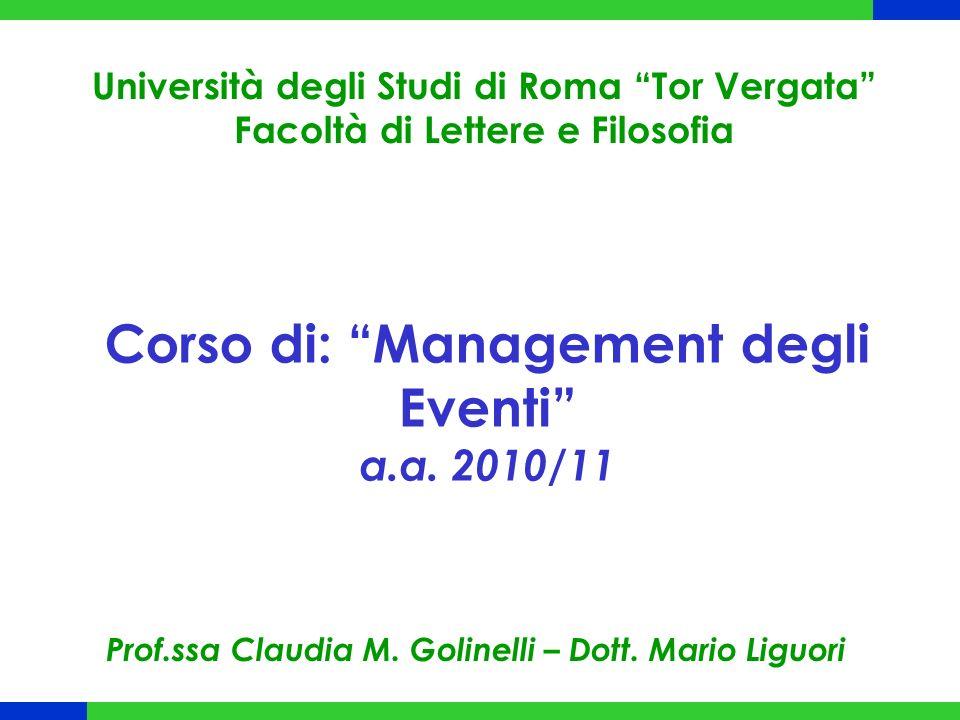 Corso di: Management degli Eventi a.a. 2010/11 Università degli Studi di Roma Tor Vergata Facoltà di Lettere e Filosofia Prof.ssa Claudia M. Golinelli