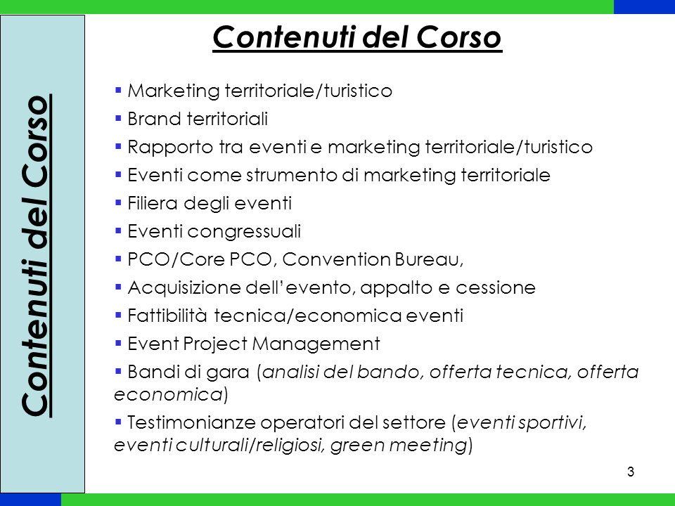 3 Marketing territoriale/turistico Brand territoriali Rapporto tra eventi e marketing territoriale/turistico Eventi come strumento di marketing territ