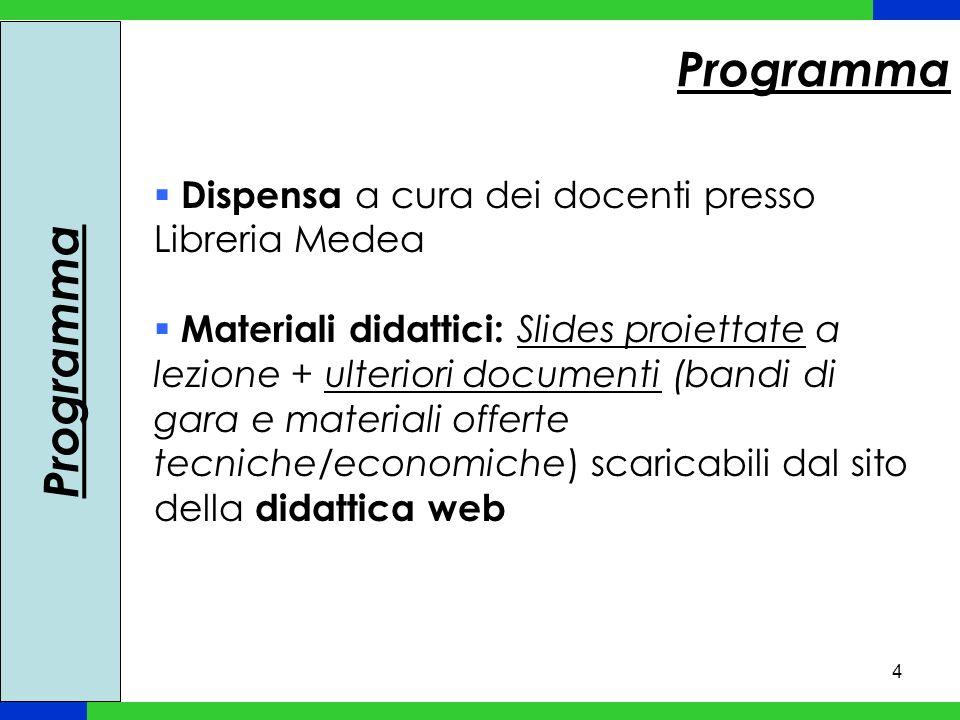 4 Dispensa a cura dei docenti presso Libreria Medea Materiali didattici: Slides proiettate a lezione + ulteriori documenti (bandi di gara e materiali