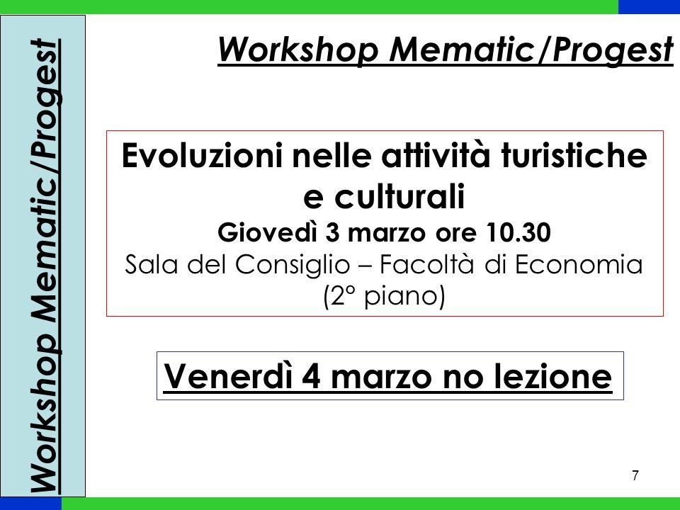 7 Workshop Mematic/Progest Evoluzioni nelle attività turistiche e culturali Giovedì 3 marzo ore 10.30 Sala del Consiglio – Facoltà di Economia (2° pia