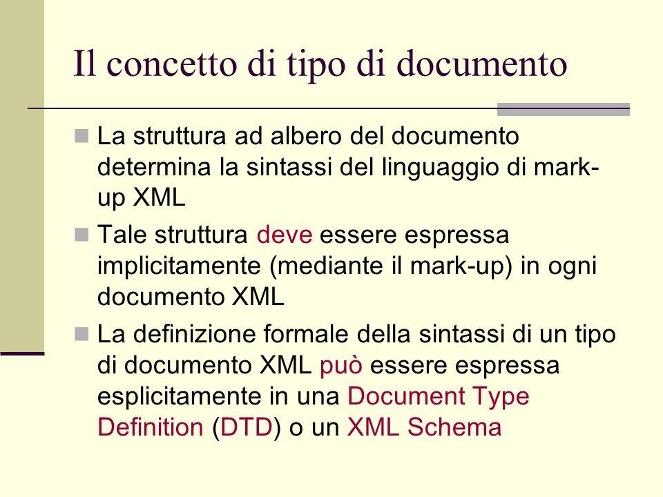 Il concetto di tipo di documento La struttura ad albero del documento determina la sintassi del linguaggio di mark- up XML Tale struttura deve essere