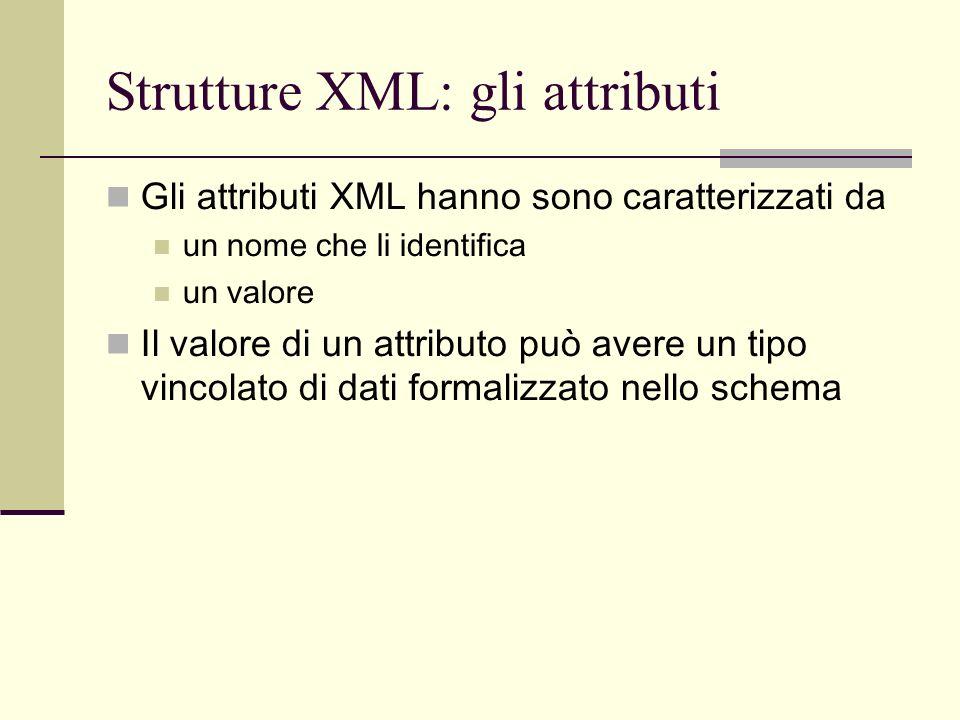 Strutture XML: gli attributi Gli attributi XML hanno sono caratterizzati da un nome che li identifica un valore Il valore di un attributo può avere un