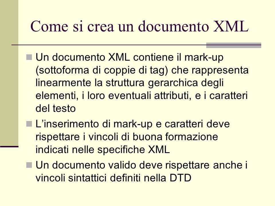 Come si crea un documento XML Un documento XML contiene il mark-up (sottoforma di coppie di tag) che rappresenta linearmente la struttura gerarchica d
