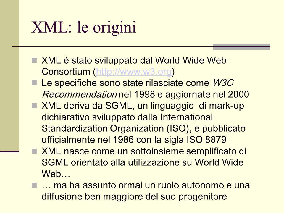 Strutture XML: le entità In generale una entità è qualsiasi sequenza di byte considerata indipendentemente dalla sua funzione strutturale un singolo carattere UNICODE una stringa di testo XML (caratteri e mark-up) un intero file XML esterno un intero file non XML (es.
