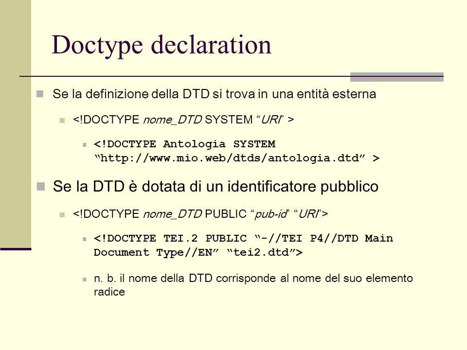 Se la definizione della DTD si trova in una entità esterna Se la DTD è dotata di un identificatore pubblico n. b. il nome della DTD corrisponde al nom