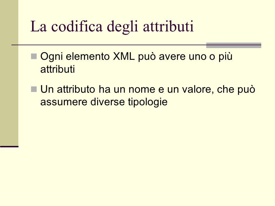 La codifica degli attributi Ogni elemento XML può avere uno o più attributi Un attributo ha un nome e un valore, che può assumere diverse tipologie