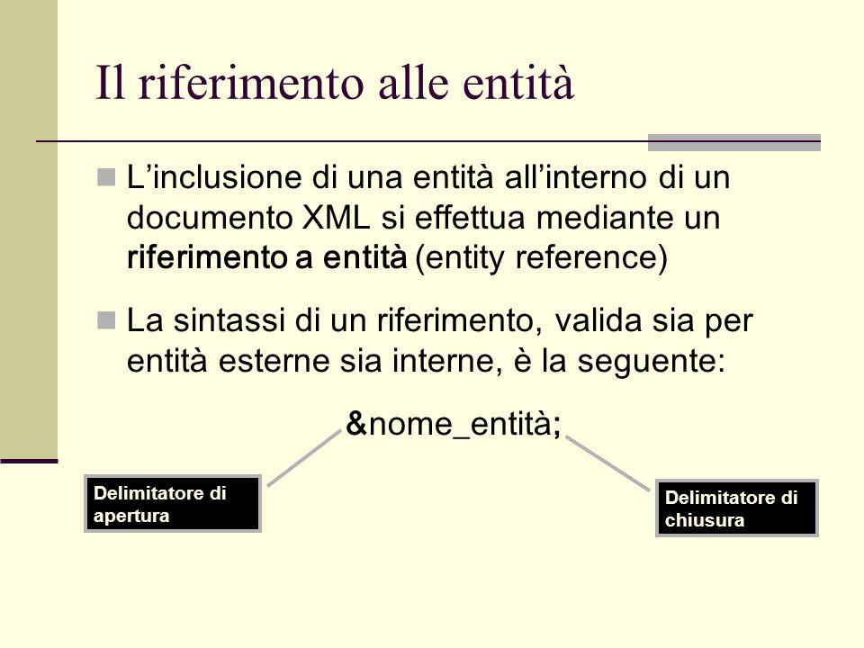 Il riferimento alle entità Linclusione di una entità allinterno di un documento XML si effettua mediante un riferimento a entità (entity reference) La