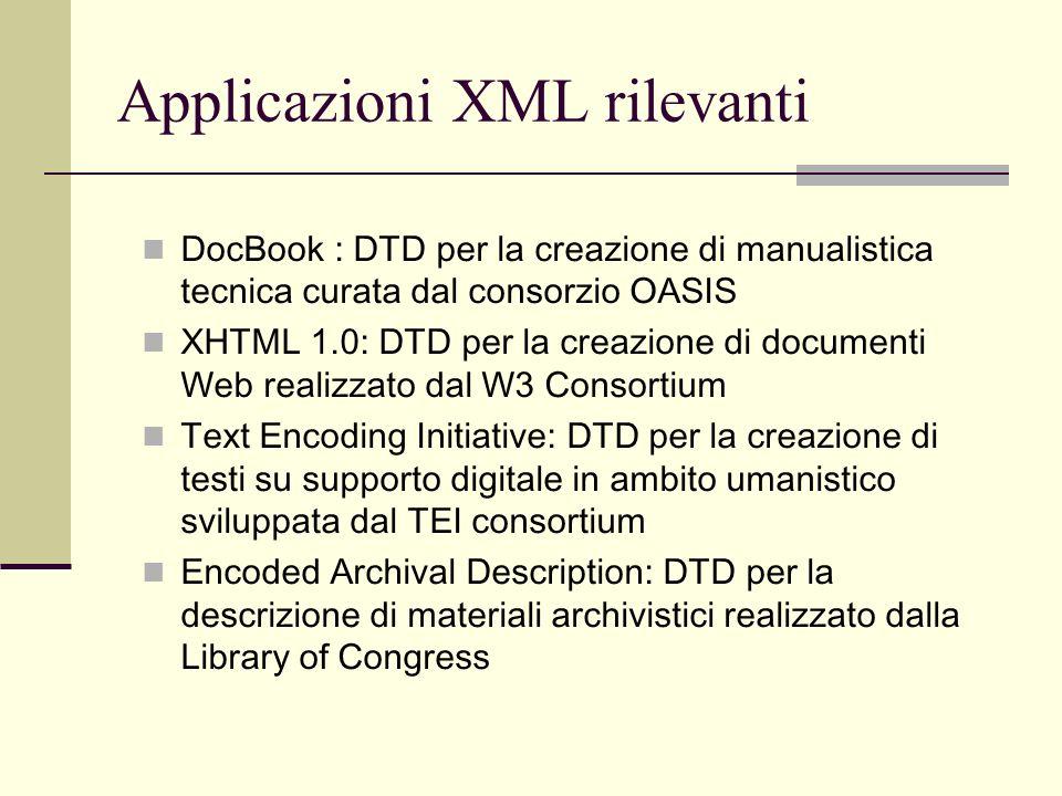Applicazioni XML rilevanti DocBook : DTD per la creazione di manualistica tecnica curata dal consorzio OASIS XHTML 1.0: DTD per la creazione di docume