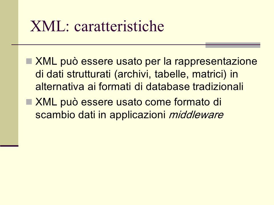 XML: caratteristiche XML è uno standard di pubblico dominio ogni software conforme XML è in grado di gestire dati in formato XML sono disponibili numerose applicazioni e librerie open source per la manipolazione di dati in formato XML basate su diversi linguaggi di programmazione (Java, C, Python, Perl…) una applicazione in grado di elaborare dati in formato XML viene definita elaboratore XML