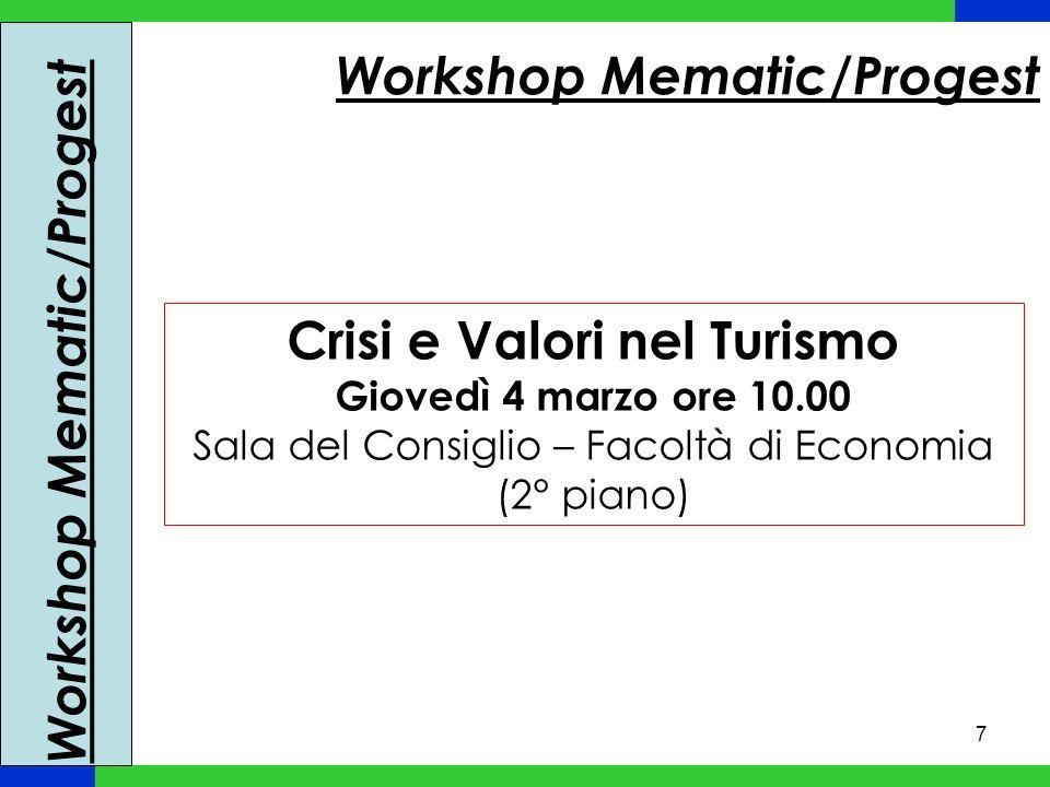 7 Workshop Mematic/Progest Crisi e Valori nel Turismo Giovedì 4 marzo ore 10.00 Sala del Consiglio – Facoltà di Economia (2° piano)