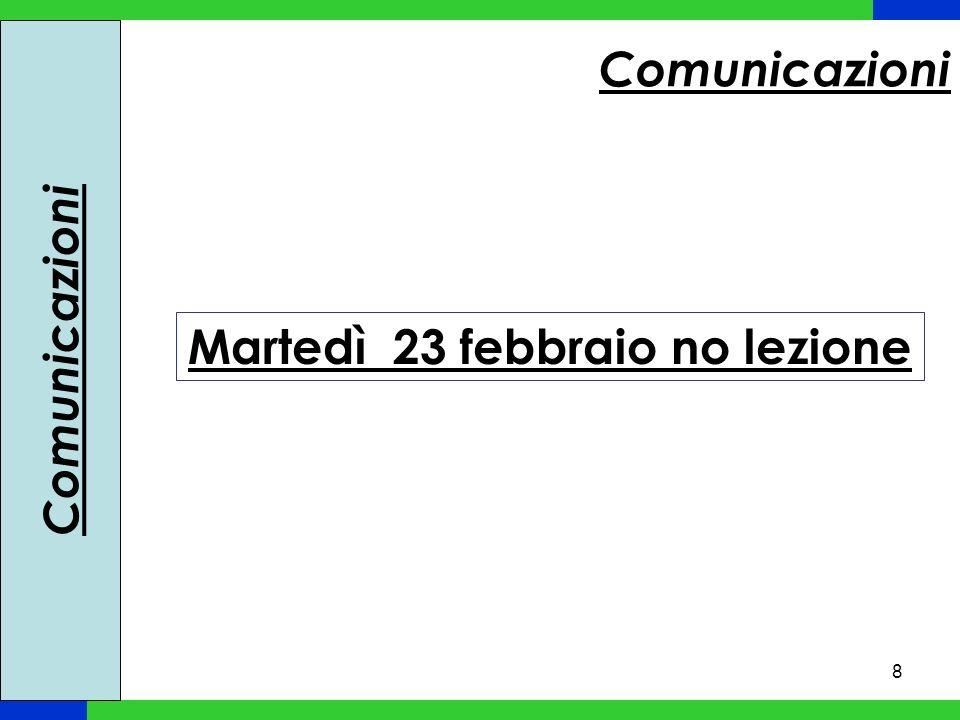 8 Comunicazioni Martedì 23 febbraio no lezione