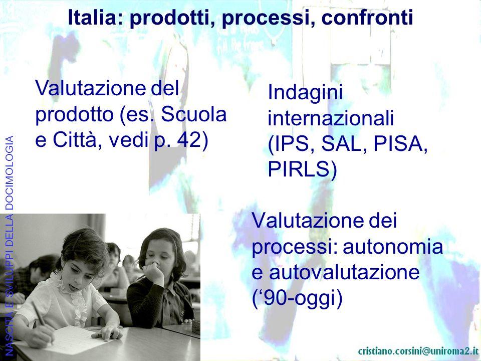 Italia: prodotti, processi, confronti Valutazione dei processi: autonomia e autovalutazione (90-oggi) NASCITA E SVILUPPI DELLA DOCIMOLOGIA Valutazione del prodotto (es.
