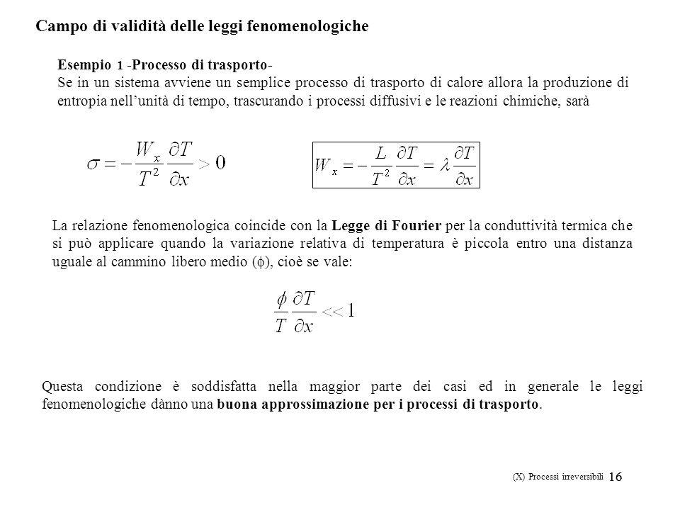 16 (X) Processi irreversibili Campo di validità delle leggi fenomenologiche Esempio 1 -Processo di trasporto- Se in un sistema avviene un semplice pro