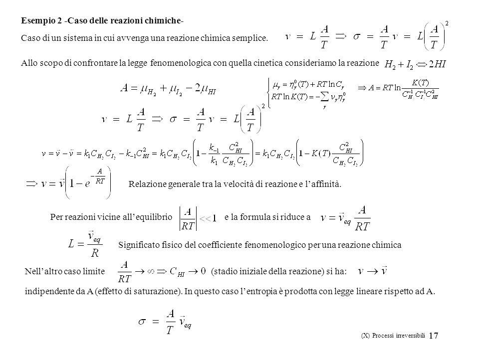 17 (X) Processi irreversibili Esempio 2 -Caso delle reazioni chimiche- Caso di un sistema in cui avvenga una reazione chimica semplice. Allo scopo di