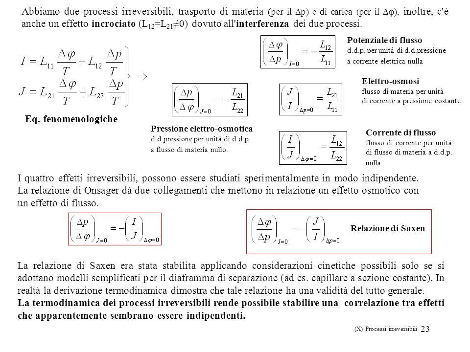 23 (X) Processi irreversibili Eq. fenomenologiche Abbiamo due processi irreversibili, trasporto di materia (per il p) e di carica (per il ), inoltre,