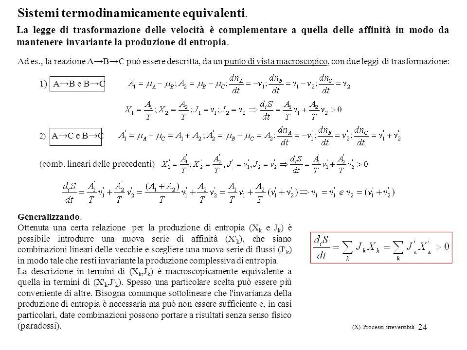 24 Sistemi termodinamicamente equivalenti. 1) AB e BC 2) AC e BC (comb. lineari delle precedenti) Generalizzando. Ottenuta una certa relazione per la