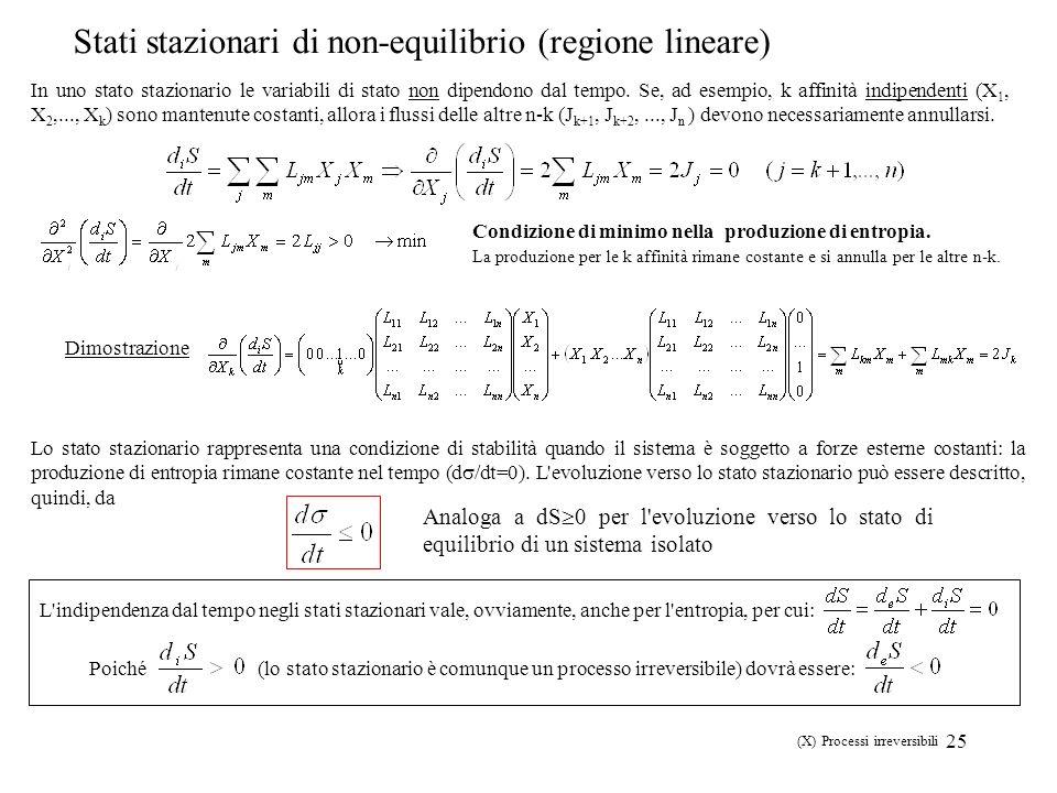 25 In uno stato stazionario le variabili di stato non dipendono dal tempo. Se, ad esempio, k affinità indipendenti (X 1, X 2,..., X k ) sono mantenute