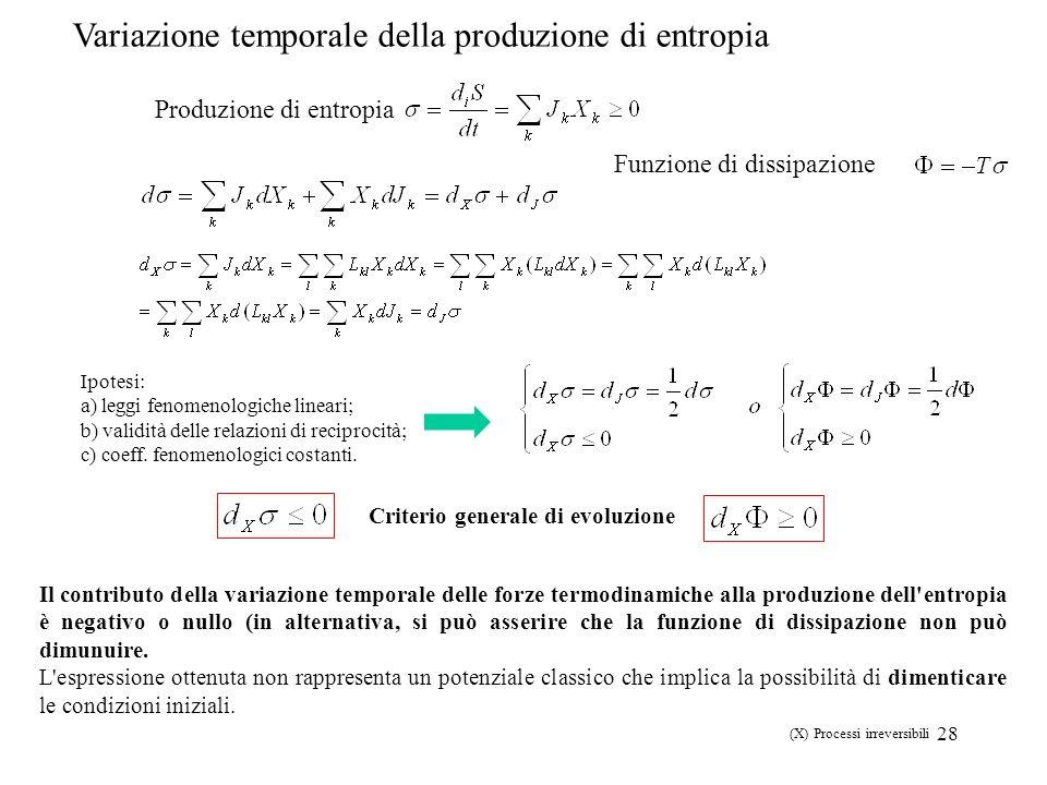28 Produzione di entropia Variazione temporale della produzione di entropia Il contributo della variazione temporale delle forze termodinamiche alla p