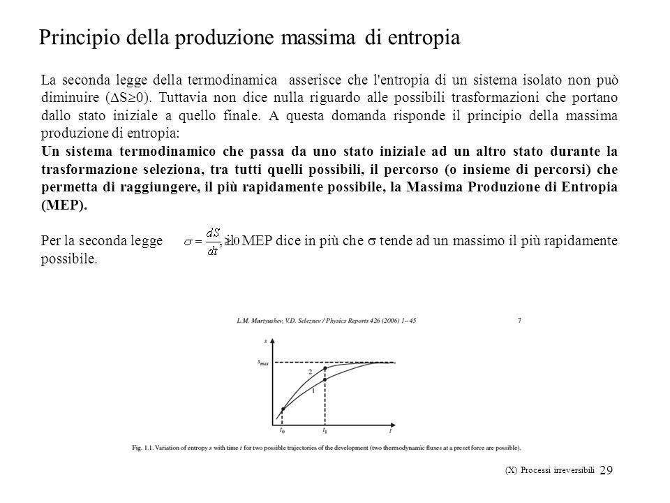 29 Principio della produzione massima di entropia La seconda legge della termodinamica asserisce che l'entropia di un sistema isolato non può diminuir