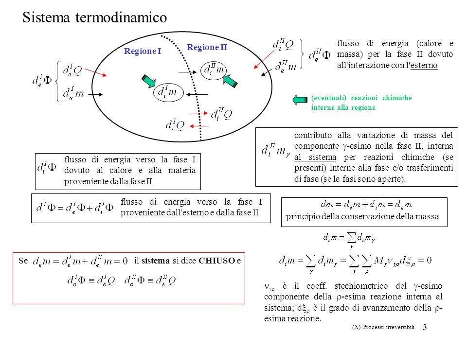 4 I e II Legge della Termodinamica principio della conservazione della energia la variazione di energia è uguale al flusso di energia che il sistema riceve dall esterno (d i E=0) principio della produzione di entropia la variazione di entropia dovuta a cambiamenti interni al sistema non può essere negativa Regione I Regione II Ogni regione macroscopica produce entropia (processo irreversibile) L interferenza tra processi irreversibili è possibile solo quando questi avvengono nella stessa regione del sistema (X) Processi irreversibili First Law: You cannot build a perpetual motion machine of the first kind.