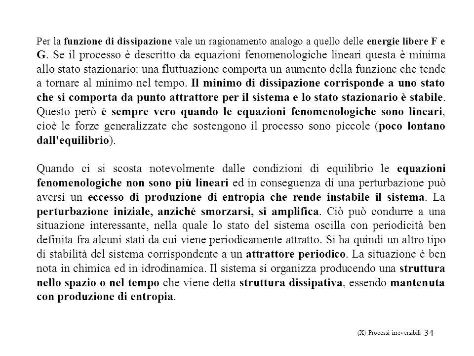 34 Per la funzione di dissipazione vale un ragionamento analogo a quello delle energie libere F e G. Se il processo è descritto da equazioni fenomenol