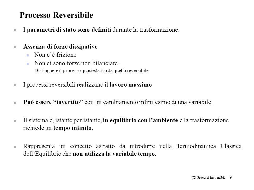 6 Processo Reversibile I parametri di stato sono definiti durante la trasformazione. Assenza di forze dissipative Non cè frizione Non ci sono forze no