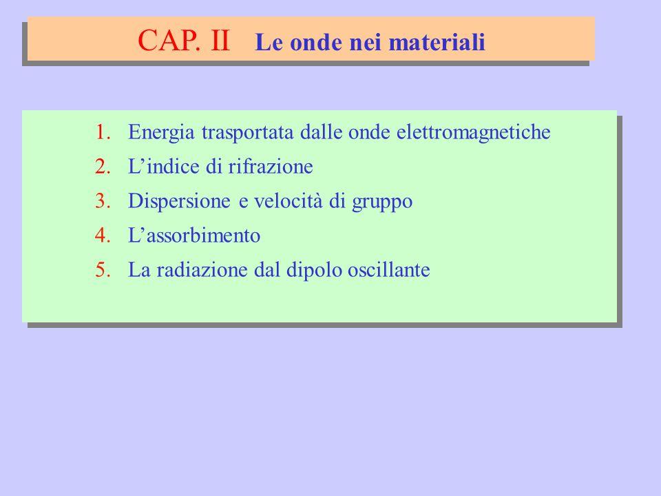 CAP.II Le onde nei materiali 1. Energia trasportata dalle onde elettromagnetiche 2.