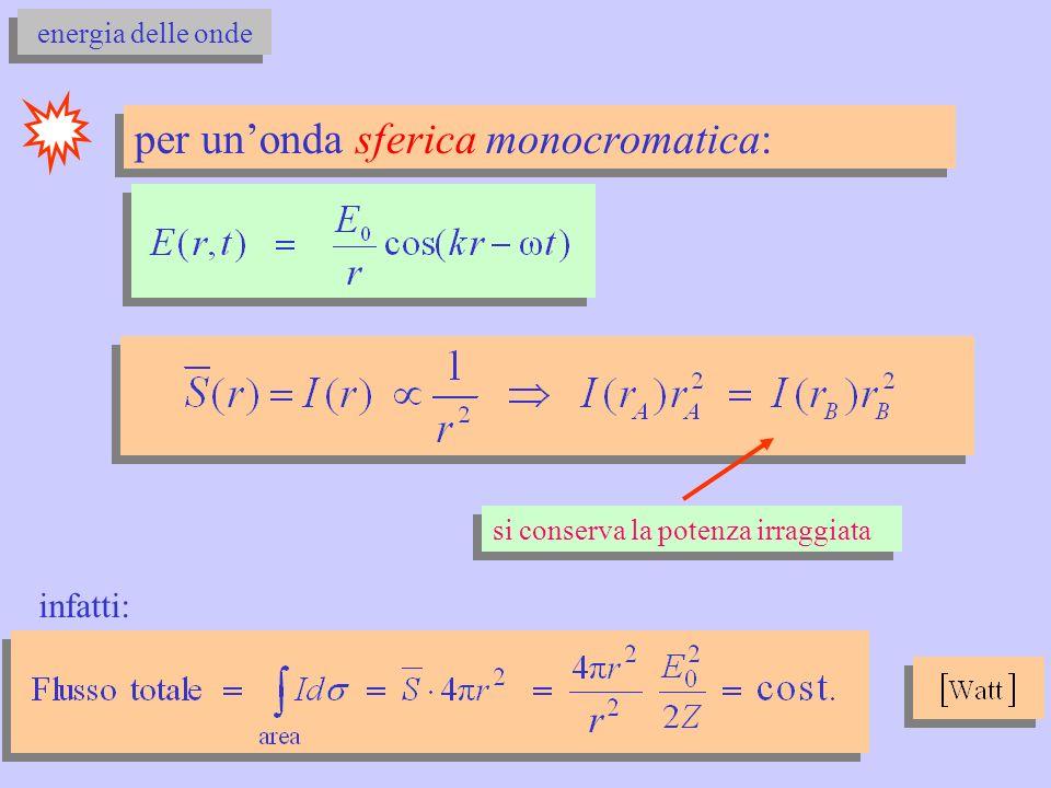 energia delle onde per unonda sferica monocromatica: si conserva la potenza irraggiata infatti: