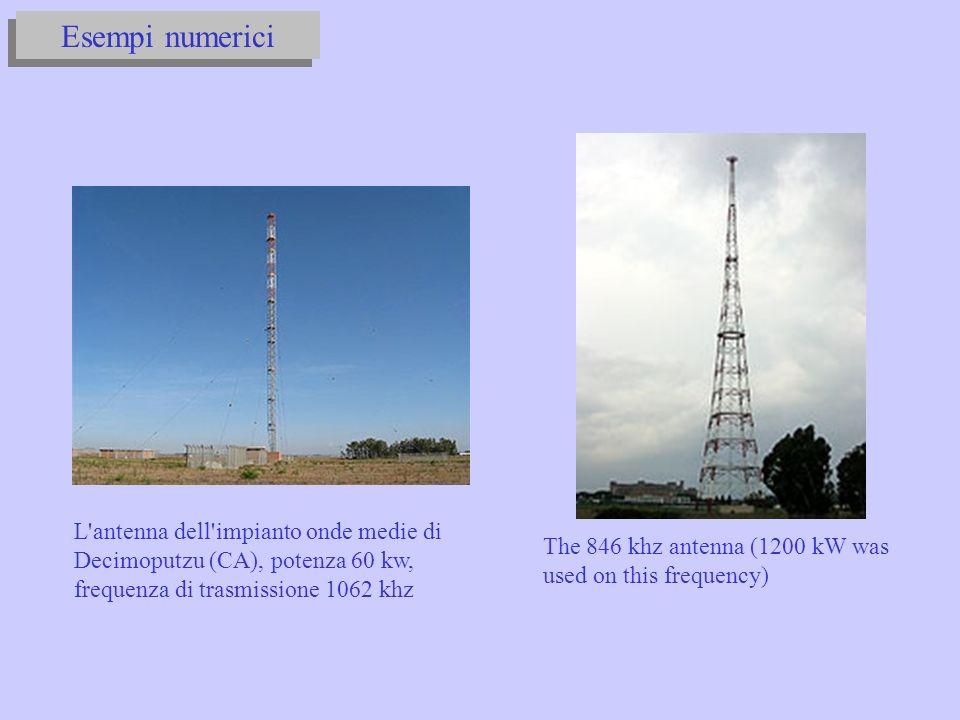 Esempi numerici The 846 khz antenna (1200 kW was used on this frequency) L antenna dell impianto onde medie di Decimoputzu (CA), potenza 60 kw, frequenza di trasmissione 1062 khz