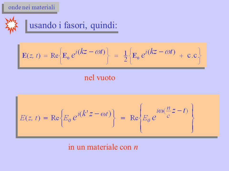 onde nei materiali usando i fasori, quindi: nel vuoto in un materiale con n