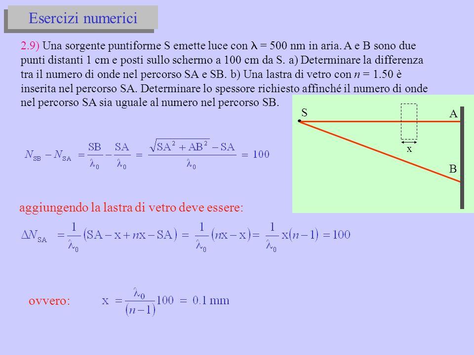 A B S x Esercizi numerici 2.9) Una sorgente puntiforme S emette luce con = 500 nm in aria.