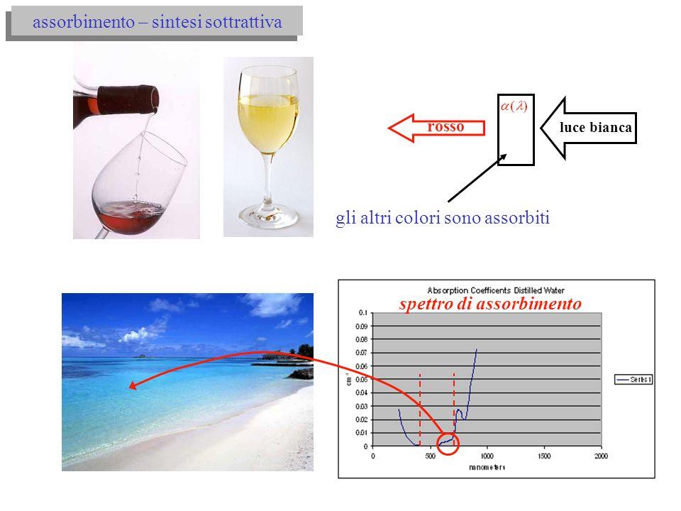 spettro di assorbimento assorbimento – sintesi sottrattiva rosso luce bianca gli altri colori sono assorbiti