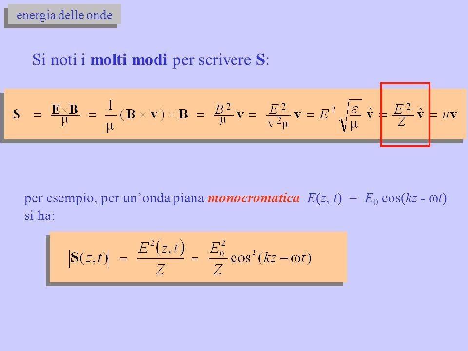 energia delle onde Si noti i molti modi per scrivere S: per esempio, per unonda piana monocromatica E(z, t) = E 0 cos(kz - t) si ha: