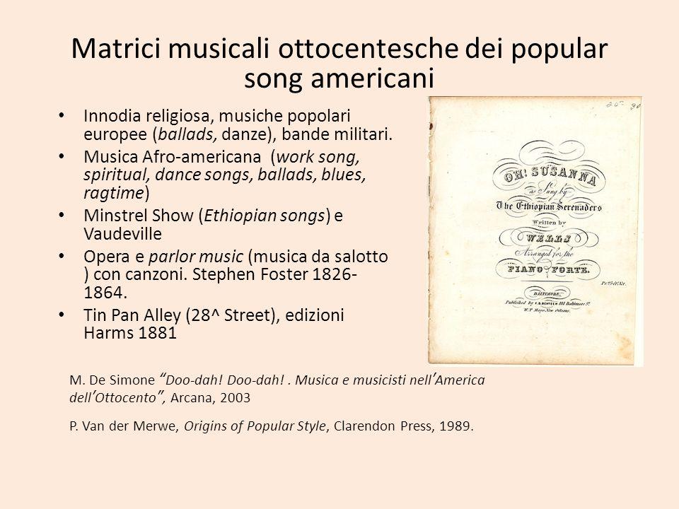 Matrici musicali ottocentesche dei popular song americani Innodia religiosa, musiche popolari europee (ballads, danze), bande militari. Musica Afro-am