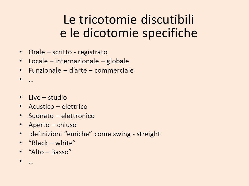 Le tricotomie discutibili e le dicotomie specifiche Orale – scritto - registrato Locale – internazionale – globale Funzionale – darte – commerciale …