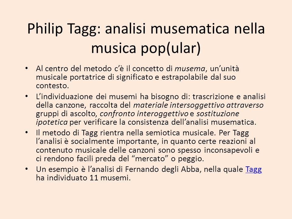 Philip Tagg: analisi musematica nella musica pop(ular) Al centro del metodo cè il concetto di musema, ununità musicale portatrice di significato e est