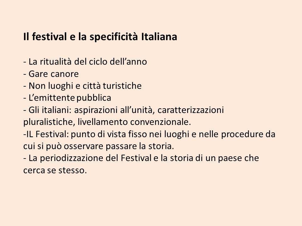 Il festival e la specificità Italiana - La ritualità del ciclo dellanno - Gare canore - Non luoghi e città turistiche - Lemittente pubblica - Gli ital