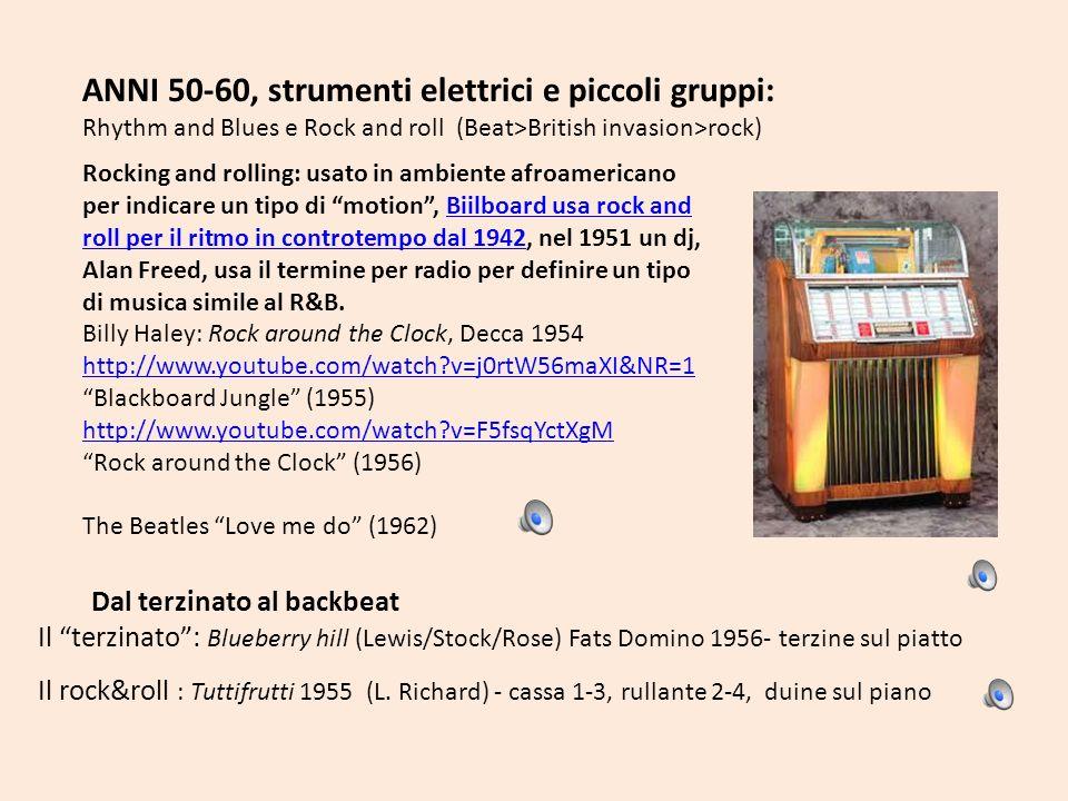 ANNI 50-60, strumenti elettrici e piccoli gruppi: Rhythm and Blues e Rock and roll (Beat>British invasion>rock) Rocking and rolling: usato in ambiente