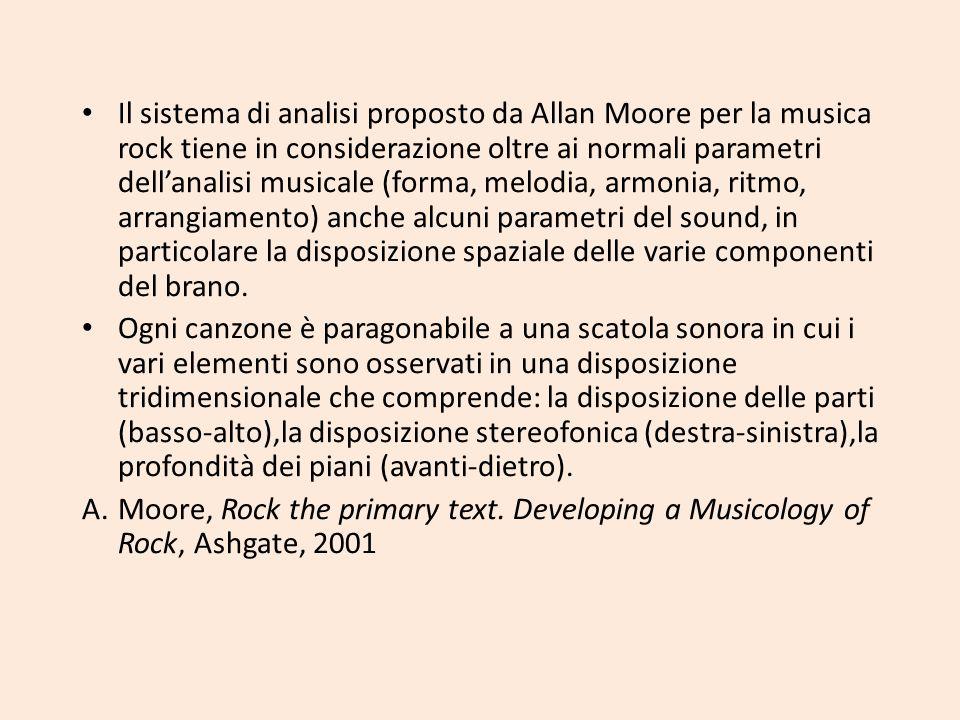 Il sistema di analisi proposto da Allan Moore per la musica rock tiene in considerazione oltre ai normali parametri dellanalisi musicale (forma, melod