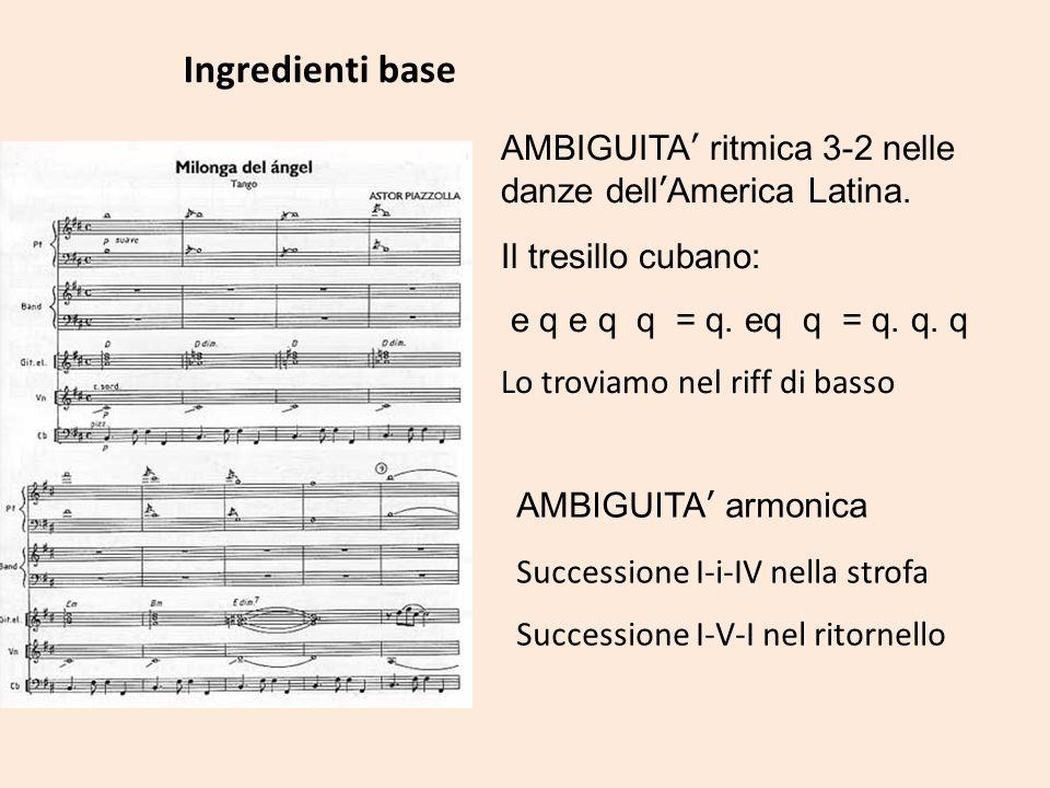 AMBIGUITA ritmica 3-2 nelle danze dellAmerica Latina. Il tresillo cubano: e q e q q = q. eq q = q. q. q Lo troviamo nel riff di basso Ingredienti base