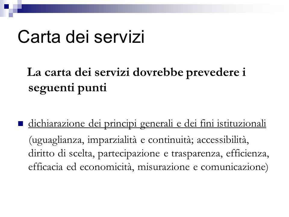 Carta dei servizi La carta dei servizi dovrebbe prevedere i seguenti punti dichiarazione dei principi generali e dei fini istituzionali (uguaglianza,