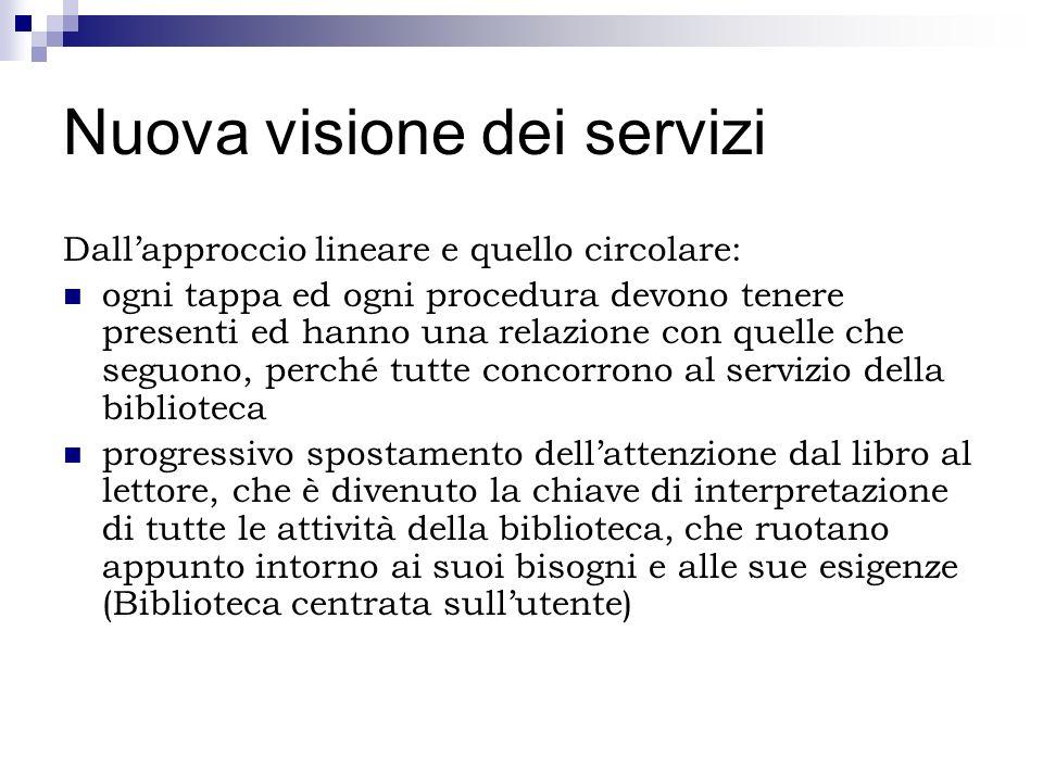 Nuova visione dei servizi Dallapproccio lineare e quello circolare: ogni tappa ed ogni procedura devono tenere presenti ed hanno una relazione con que