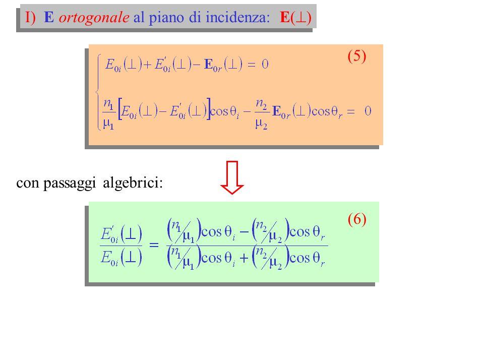 E n dimostrazione: I) E ortogonale al piano: E( ) (5)