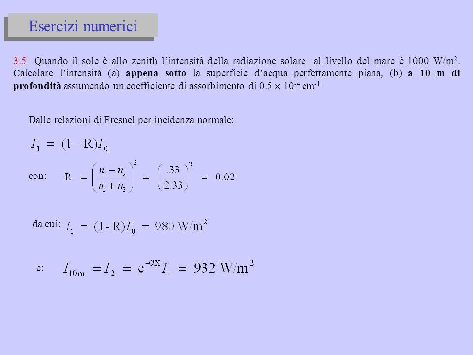 Prova di esame del corso di Fisica 4 del 26/9/03 3.4 Un sottile fascio di luce di potenza I 0 = 10 mW incide normalmente sulla superficie piana di una lastra di vetro con indice di rifrazione n = 1.75, coefficiente di assorbimento = 0.5 cm -1 e di spessore t = 10 mm.