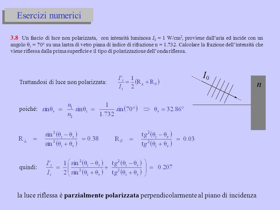 r i γ per la condizione di Brewster deve essere: da Snell e Brewster ricaviamo: quindi: n1n1 n2n2 nana dalla condizione di angolo limite: