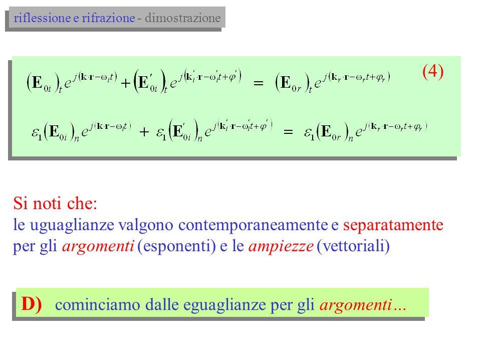 C) le (3) devono soddisfare le (1) lungo tutta linterfaccia: (1) (3) otteniamo: (4) riflessione e rifrazione - dimostrazione
